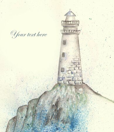 shore: Illustration of a lighthouse on the shore, pour over the sea spray, painted in watercolor. Template of postcard.