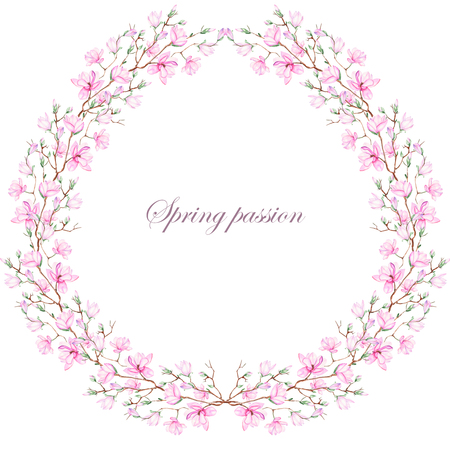 Wreath frame of pink magnolia painted in watercolor on a white background, decoration postcard, greeting card or invitation Stock Photo