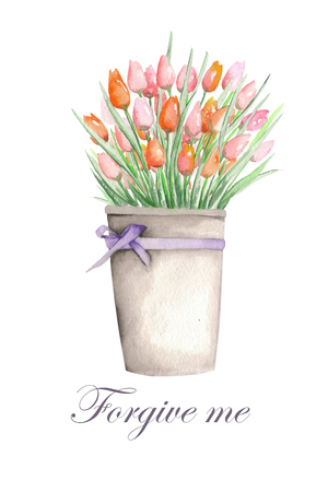 Floral watercolor postcard with tulips in a bucket on a white background, decoration postcard or invitation for wedding, celebration, holiday