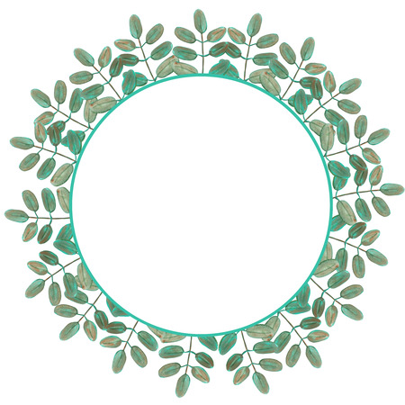 you figure: Circle frame, wreath of branches with green leaves painted in watercolor on a white background, greeting card, decoration postcard or invitation