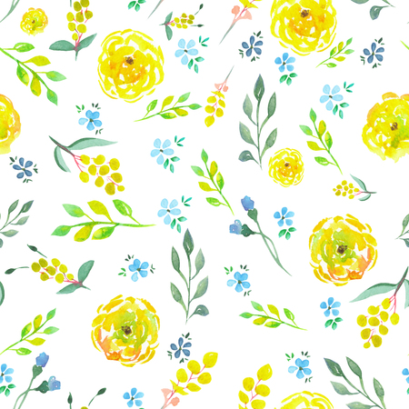 Seamless floral pattern with yellow and blue flowers, green leaves painted in watercolor on a white background