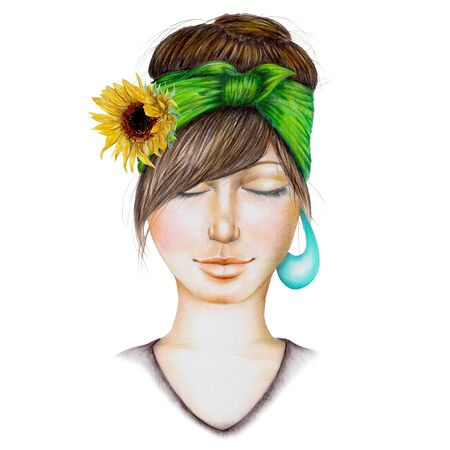 colored pencils: Portrait of a girl with a green kerchief and yellow sunflower on her hair, eyes closed, hand-drawn with colored pencils on a white background