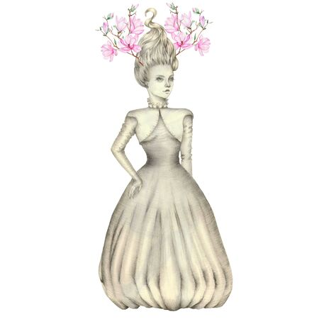 evening dress: Portrait of a girl with a pink magnolias antlers on her head, in evening dress, hand-drawn with simple pencils and watercolor on a white background