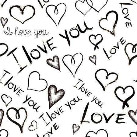 letras negras: Modelo inconsútil con las inscripciones '' Te amo '' y los corazones escrita a mano en tinta negro sobre un fondo blanco Foto de archivo