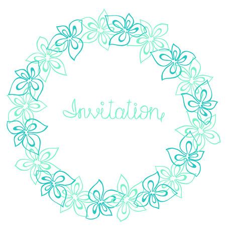 azul turqueza: Marco del círculo, corona de flores de color turquesa, azul y menta sobre un fondo blanco, tarjeta de felicitación, la postal de decoración o invitación Foto de archivo