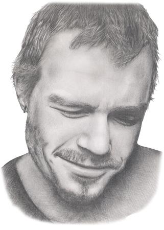 famous actor: Portrait of Heath Ledger famous actor in grey pencil