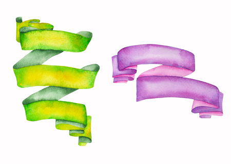 garniture: Set, collection of isolated ribbons painted in watercolor on a white background Stock Photo