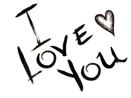 you figure: Hand-drawn inscription  I LOVE YOU  and small heart made by black ink on a white background