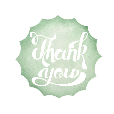 you figure: Calligraphic inscription on a green watercolor circle background. Thank you poster, banner or postcard, for design invitation and greeting card