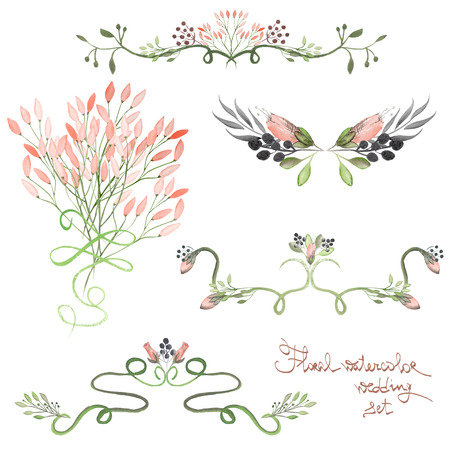 branches with leaves: Set with frame borders, floral decorative ornaments with watercolor flowers, leaves and branches painted in watercolor on a white background for greeting card, decoration postcard or wedding invitation