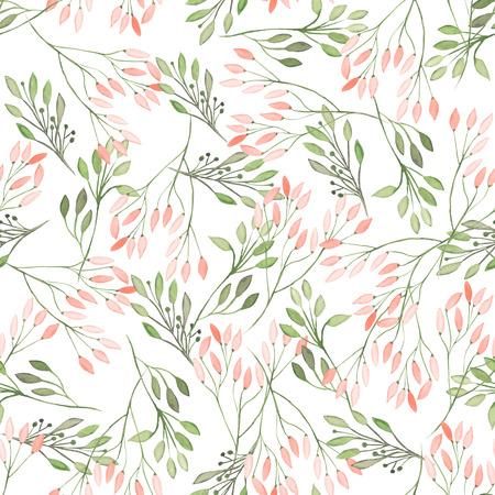 Naadloze patroon met waterverf bloemen, bladeren en takken op een witte achtergrond, trouw decoratie