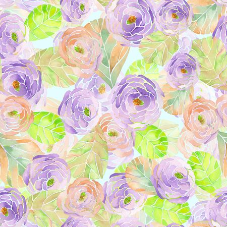 flores moradas: Patr�n sin fisuras con flores de color rosa, p�rpuras y violetas pintadas en acuarela sobre un fondo de menta Foto de archivo
