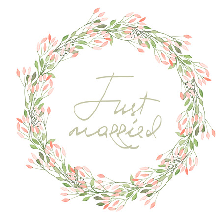 Circle frame, wreath of pink flowers and branches with green leaves painted in watercolor on a white background, greeting card, decoration postcard or invitation