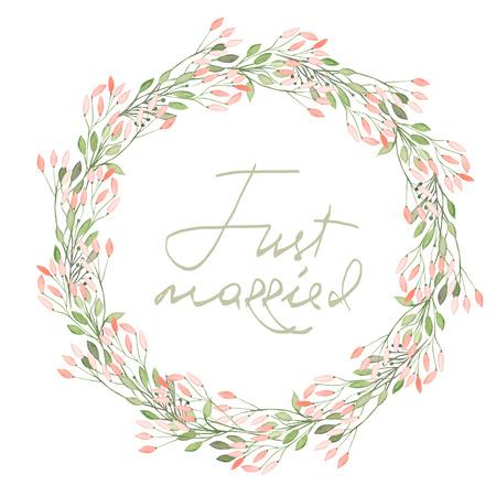 Ramka koło, wieniec z różowych kwiatów i gałęzi z zielonymi liśćmi malowane akwarelą na białym tle, okolicznościowe karty, dekoracji pocztówka lub zaproszenia