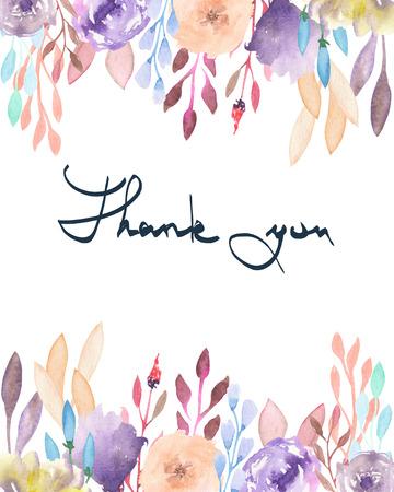 frontera del marco, plantilla para tarjeta postal con flores púrpuras y rosadas blandas y ramas con las hojas vinoso pintados en acuarela sobre un fondo blanco, tarjetas de felicitación, la postal de decoración o la invitación con la inscripción Gracias