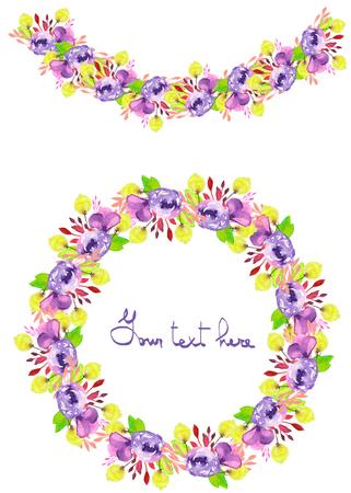 marcos redondos: Marco del círculo, corona de flores y guirnaldas de flores púrpuras y amarillas y ramas con las hojas verdes pintadas en acuarela sobre un fondo blanco, tarjetas de felicitación, decoración postal o invitación Foto de archivo