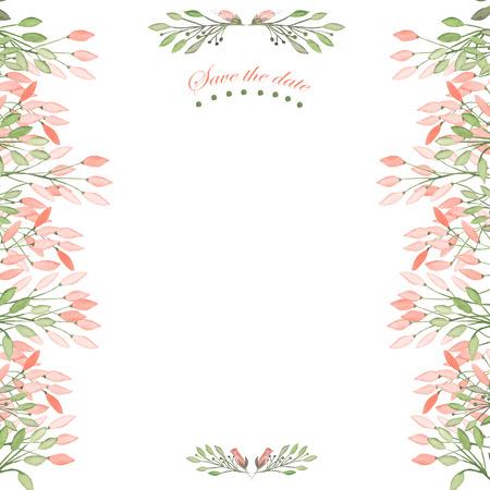 フレームの枠線、水彩の花で花の装飾的な飾りの葉し、枝がグリーティング カード、装飾はがきや結婚式招待状の白い背景の水彩画で描かれていま