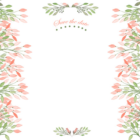 Khung khung, hoa trang trí bằng hoa màu nước, lá và cành sơn màu nước trên nền trắng cho thiệp chúc mừng, bưu thiếp trang trí hoặc lời mời đám cưới