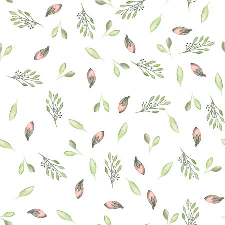 無縫模式與水彩花卉,樹葉和樹枝在白色背景上,新婚家裝