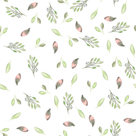Seamless pattern with watercolor flowers, leaves and branches on a white background, wedding decoration