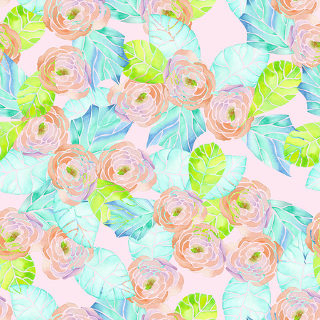 green flowers: Seamless tender pattern with pink flowers and blue leaves painted in watercolor on a pink background Stock Photo