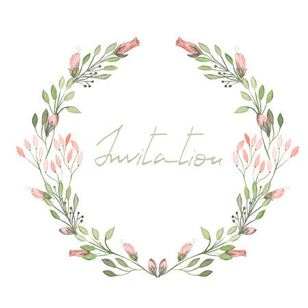 Çember çerçeve, pembe çiçekler ve beyaz zemin üzerine suluboya boyalı yeşil yaprakları ile dalları, tebrik kartı, dekorasyon kartpostal veya davet çelenk