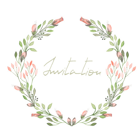 floral frame: Circle frame, wreath of pink flowers and branches with green leaves painted in watercolor on a white background, greeting card, decoration postcard or invitation