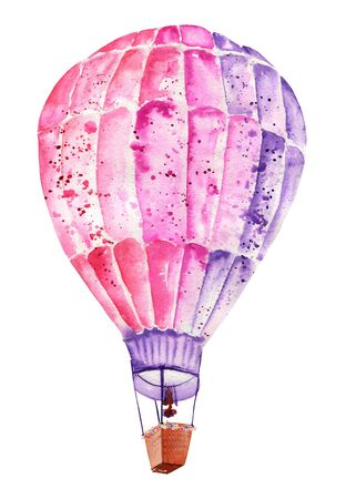 mauve: Illustration, image with flying mauve pink and violet balloon painted in watercolor on a white background