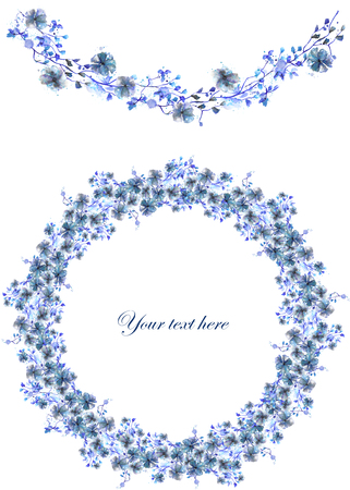 blue circles: Circle frame, wreath and garland of blue flowers and branches with the blue leaves painted in watercolor on a white background, greeting card, decoration postcard or invitation
