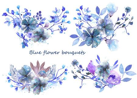 青と紫のブーケのセットの花し、グリーティング カードや招待状の白い背景の上に水彩で描かれた葉