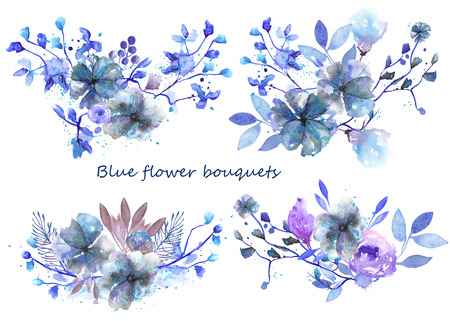 Set of bouquets with blue and purple flowers and leaves painted in watercolor on a white background for greeting card or invitation