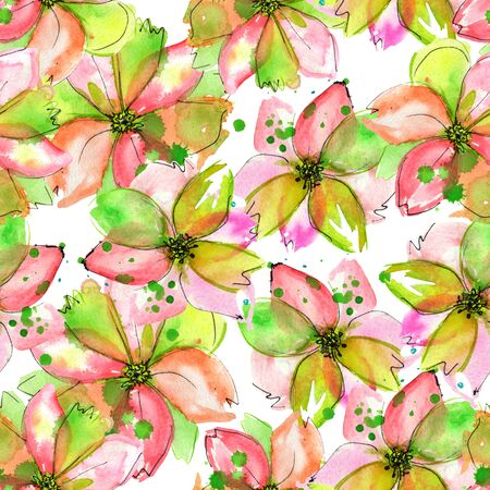 green flowers: Seamless pattern with pink, purple and green flowers with watercolor blots painted in watercolor on a white background Stock Photo