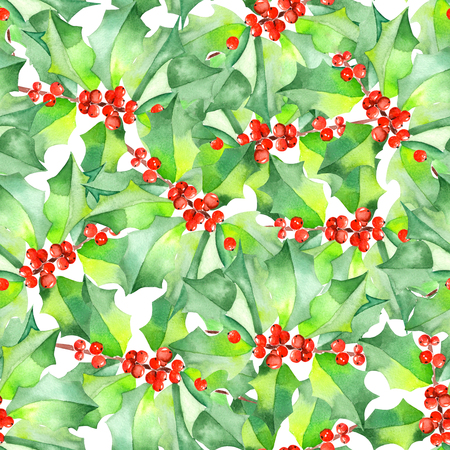 Seamless pattern with branches with the red berries and green seamless pattern with branches with the red berries and green leaves holly tree painted in watercolor mightylinksfo