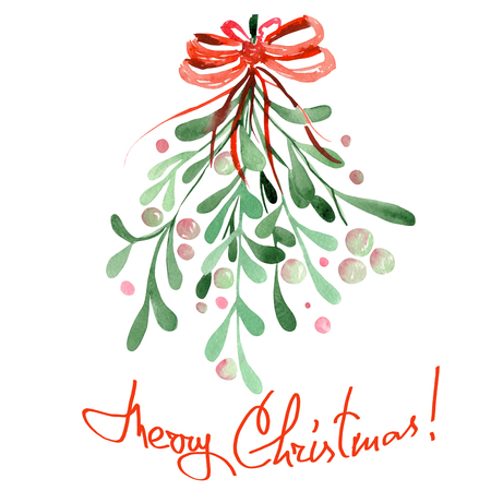 Illustration image of an isolated Christmas watercolor mistletoe with a red bow on a white background