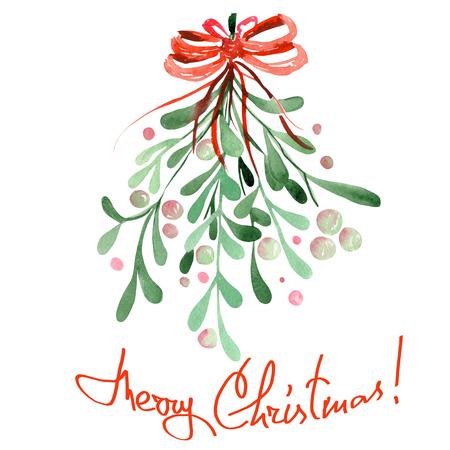 Imagen Ilustración de un hecho aislado muérdago acuarela de Navidad con un arco rojo sobre un fondo blanco Foto de archivo - 49033586