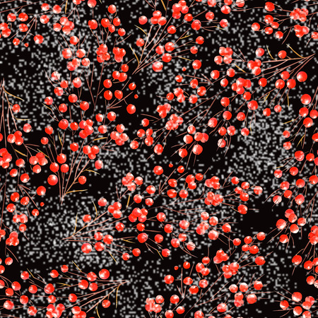viburnum: Seamless pattern with branches with the red berries under the snow painted in watercolor on a black background