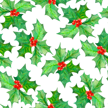 branches and leaves: Seamless pattern with branches with the red berries and green leaves holly tree painted in watercolor on a white background