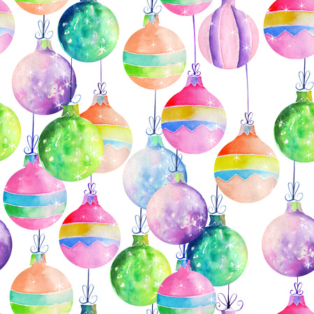 白い背景に水彩で描かれた色のクリスマス装飾ボールのシームレス パターン