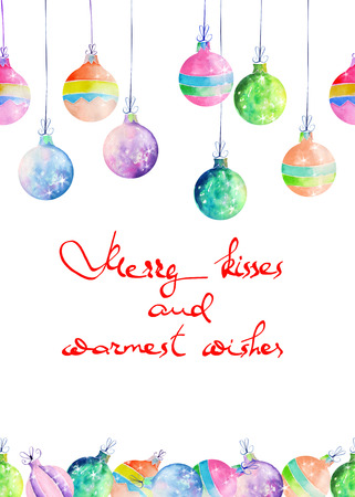 warmest: Postcard, greeting card or invitation with colored Christmas balls painted in watercolor on a white background with inscription Merry kisses and warmest wishes