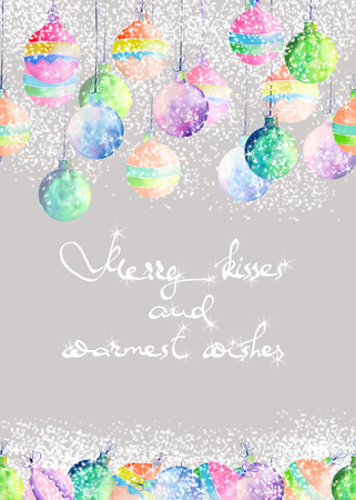warmest: A postcard, greeting card or invitation with colored Christmas balls under the snow painted in watercolor on a grey background with inscription Merry kisses and warmest wishes