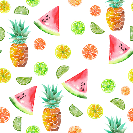candied fruits: A pattern with the colored watercolor candied fruits, pineapple, lime and watermelon painted on a white background