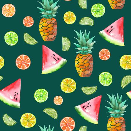 candied fruits: A seamless pattern with the colored watercolor candied fruits, pineapple, lime and watermelon painted on a dark green background
