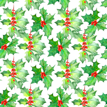 viburnum: A seamless pattern with branches with the red berries and green leaves holly tree painted in watercolor on a white background