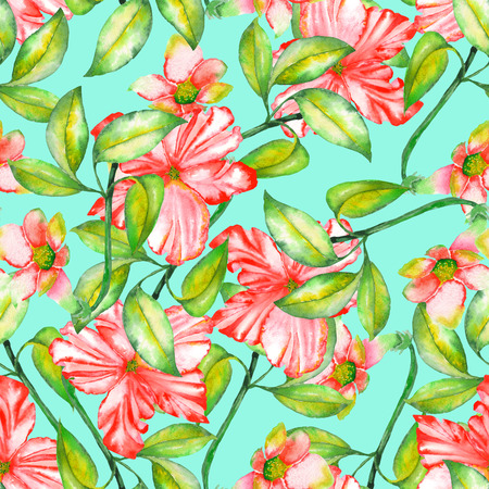 incarnadine: A seamless pattern with the watercolor red exotic flowers, hibiscus on a turquoise background