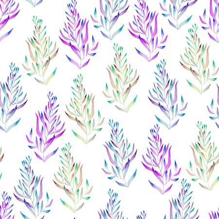 seaweeds: A floral seamless pattern with the green, brown, bright purple and blue watercolor plants, seaweeds on a white background Stock Photo