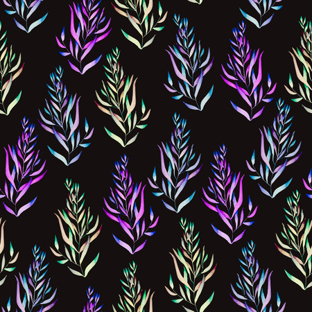 A floral pattern with the green, brown, bright purple and blue watercolor plants, seaweeds on a black background Stock Photo