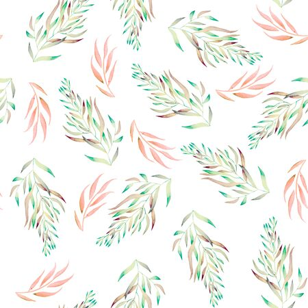 seaweeds: A seamless floral pattern with the green, brown and pink watercolor plants, seaweeds on a white background