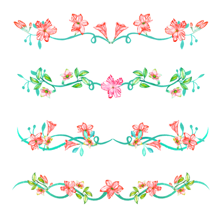 A set with the frame borders, floral decorative ornaments with the watercolor flowers, leaves and branches painted on a white background for a greeting card or a wedding invitation