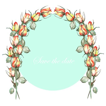yellow roses: An arch wreath frame of the red and yellow roses painted in a watercolor on a mint background, a greeting card, a decoration postcard or wedding invitation Stock Photo