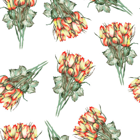 incarnadine: A seamless pattern with the watercolor beautiful bouquets of the red and yellow roses painted on a white background Stock Photo